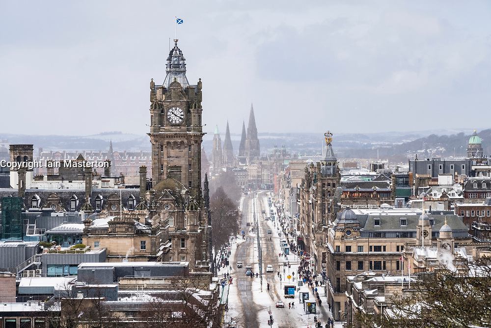 View from Calton Hill along Princes Street empty of traffic  after heavy snow falls , Edinburgh,Scotland, United Kingdom