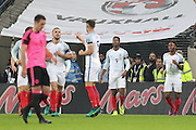 England Forward Daniel Sturridge celebrates his goal 1-0 during the FIFA World Cup Qualifier group stage match between England and Scotland at Wembley Stadium, London, England on 11 November 2016. Photo by Phil Duncan.