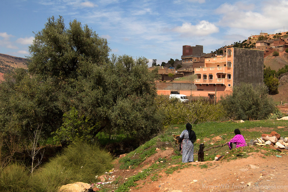 Africa, Morocco, Tansghart. Villagers of Tansghart in the Atlas Mountains.