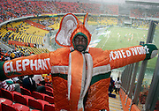 Ivory coast fan in Elephant costume. Ivory Coast V Mali. African Cup of Nations 2008. Ohene Djan stadium. Accra. Ghana. West Africa..©Picture Zute Lightfoot.  07939 108077. www.lightfootphoto.co.uk