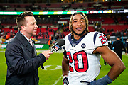 Houston Texans Defensive Back Justin Reid (20) interviewed at the end of the game during the International Series match between Jacksonville Jaguars and Houston Texans at Wembley Stadium, London, England on 3 November 2019.
