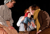 Clwyd Theatr Cymru Theatre for Young People production stills of 'Humbug' by Tim Baker...Cast: Michael Geary as Scrooge..Sara Lloyd : Mrs Cratchit / Various..David Osmond : Bob Cratchit / Various..Rebecca Smith-Williams / Scrooge's Nephew / Various