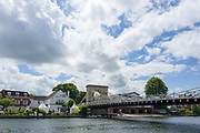 """Marlow, Bucks . United Kingdom. <br /> <br /> General View, GV. """"Marlow Bridge"""", """"Marlow Rowing Club"""", """"The Complete Angler Hotel"""".<br /> <br /> Thursday  15/06/2017<br /> <br /> <br /> [Mandatory Credit. © Peter SPURRIER,]"""