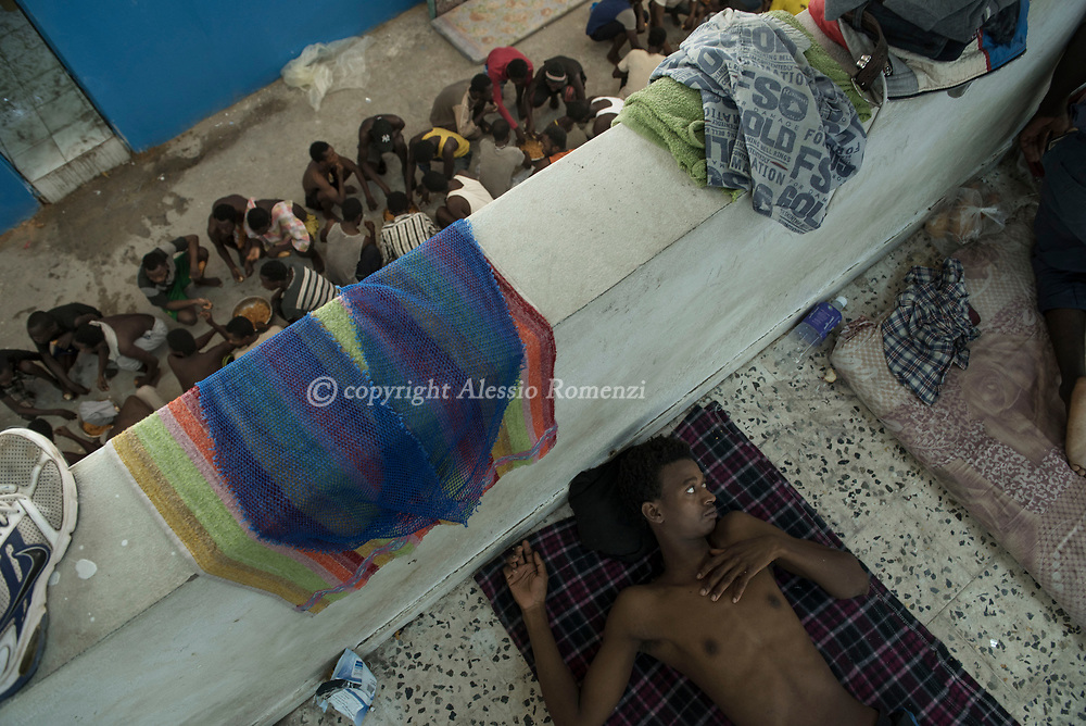 Libya, Zawyia: Migrants inside Al Nasr detention center for migrants in Zawyia. Alessio Romenzi