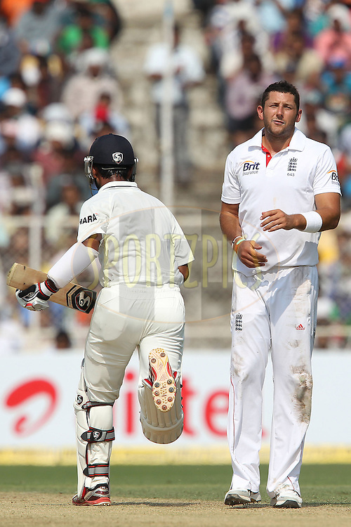 Tim Bresnan of England reacts after bowling during day one of the 1st Airtel Test Match between India and England held at the Sadar Patel Stadium in Ahmedabad, Gujarat, India on the 15th November 2012...Photo by Ron Gaunt/ BCCI/ SPORTZPICS