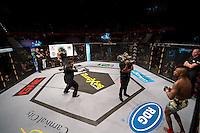 JOHANNESBURG, SOUTH AFRICA - MAY 13:  Jeff Madiba vs Alain Ilunga during EFC 49 Fight Night at the Big Top Arena, Carnival City, Johannesburg, South Africa on May 13, 2016. (Photo by Anton Geyser/ EFC Worldwide)