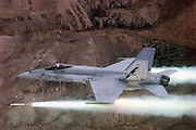 F/A-18A Hornet firing ZUNI 5-inch rockets at Fallon NV