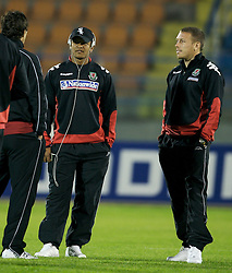 San Marino, San Marino - Wednesday, October 17, 2007: Wales' Robert Earnshaw and captain Craig Bellamy before the Group D UEFA Euro 2008 Qualifying match against San Marino at the Serravalle Stadium. (Photo by David Rawcliffe/Propaganda)