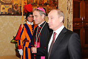 Vladimir Putin;Georg Gaenswein-Pope Francis meets in a private hearing, in the Vatican, the president of Russia Vladimir Putin.
