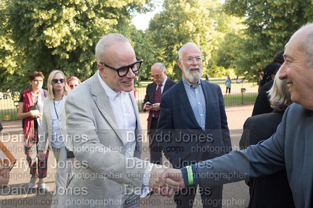 HANS ULRICH OBRIST, JOHN KALDOR, DAVID JUDA, Opening of Christo and Jeanne-Claude: ,Barrels and the Mastaba 1958 - 2018, London, 21 June 2018
