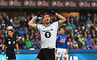 Fotball Menn Eliteserien Rosenborg-Vålerenga<br /> Lerkendal Stadion, Trondheim<br /> 24 juni 2018<br /> <br /> Ikke alt gikk Nicklas Bendtners og Rosenborgs vei, selv om han scoret 3-0<br /> <br /> <br /> Foto : Arve Johnsen, Digitalsport