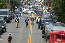June 14, 2017 - Alexandria, Virginia, United States of America - United States Representative Mo Brooks (Republican of Alabama), in dirty blue shirt, as he walks to his car after a gunman opened fire on members of Congress who were practicing for the annual Congressional baseball game in Alexandria, Virginia on Wednesday, June 14, 2017..Credit: Ron Sachs / CNP. (Credit Image: © Ron Sachs/CNP via ZUMA Wire)