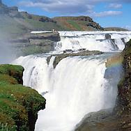 Gullfoss í Hvítá séð til norðurs, Bláskógabyggð áður Biskupstungnahreppur /  Gullfoss in riverfvita viewing north, Blaskogabyggd foirmer Biskupstungnahreppur.