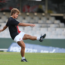 Patrick Lambie During<br /> THE SHARKS CAPTAIN PRACTICE AT THE ABSA STADIUM IN DURBAN PRIOR TO THE SUPER 14 GAME WITH THE BLUES. <br /> Pic: Steve Haag