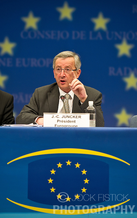 Jean-Claude Juncker, Luxembourg's prime minister, and president of the Eurogroup, speaks during the news conference following the meeting of European Union finance ministers in Brussels, Belgium, on Monday, May 17, 2010. (Photo © Jock Fistick)