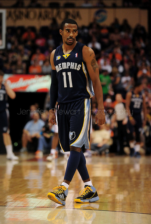 Nov. 5 2010; Phoenix, AZ, USA; Memphis Grizzlies guard Mike Conley (11) reacts on the court against the Phoenix Suns at the US Airways Center.  The Suns defeated the Memphis Grizzlies in double over time 123 - 118.  Mandatory Credit: Jennifer Stewart-US PRESSWIRE...