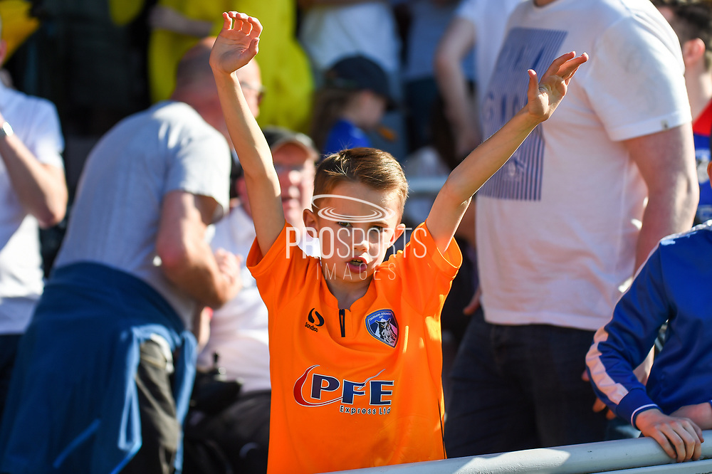 Ayoung Oldham fan cheers his team during the EFL Sky Bet League 1 match between Northampton Town and Oldham Athletic at Sixfields Stadium, Northampton, England on 5 May 2018. Picture by Dennis Goodwin.