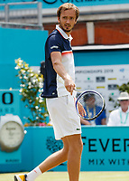 Tennis - 2019 Queen's Club Fever-Tree Championships - Day Six, Saturday<br /> <br /> Men's Singles, Semi Final: Daniil Medvedev (RUS) Vs. Gilles Simon (FRA) <br /> <br /> Daniil Medvedev (RUS) appeals to his coaching staff for some inspiration on Centre Court.<br />  <br /> COLORSPORT/DANIEL BEARHAM