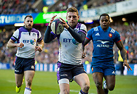 EDINBURGH, SCOTLAND - FEBRUARY 11: Scotland stand-off, Finn Russell, gathers the ball during the NatWest Six Nations match between Scotland and France at Murrayfield on February 11, 2018 in Edinburgh, Scotland. (Photo by MB Media/Getty Images)