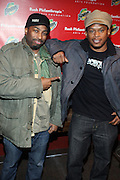 l to r: Rich Nice and Sway at The Rush Philanthropic 10th Annual Youth Annual Hoiliday Party sponsored by Bounty and held at the Fillmore New York at irving Plaza on December 10, 2009 in New York City.