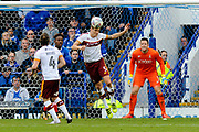 Matthew Kilgallon (5) of Bradford City heads the ball clear during the EFL Sky Bet League 1 match between Portsmouth and Bradford City at Fratton Park, Portsmouth, England on 28 October 2017. Photo by Graham Hunt.