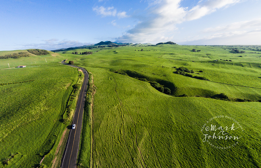 Aerial photograph of verdant green grass of pasture land near Waimea, Big Island, Hawaii