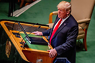 NEW YROK - US President Donald Trump addresses the General Debate of the General Assembly of the United Nations at United Nations Headquarters in New York, New York, USA, 25 September 2018. The General Debate of the 73rd session begins on 25 September 2018. ROBIN UTRECHT