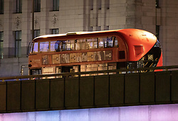 © Licensed to London News Pictures. 29/11/2019. London, UK. An abandoned bus is stationary on London Bridge after the earlier incident. A number of people have been stabbed. Police have shot a suspect. Photo credit: Peter Macdiarmid/LNP