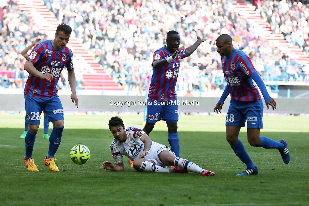 Damien DA SILVA / Clement GRENIER / Dennis APPIAH / Jordan ADEOTTI - 09.05.2015 -  Caen / Lyon  - 36eme journee de Ligue 1<br /> Photo : Vincent Michel / Icon Sport