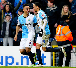 Adam Henley of Blackburn Rovers and Marcus Olsson of Blackburn Rovers celebrate after their sides fourth goal 4-1 -  Photo mandatory by-line: Matt McNulty/JMP - Mobile: 07966 386802 - 14/02/2015 - SPORT - Football - Blackburn - Ewood Park - Blackburn Rovers v Stoke City - FA Cup - Fifth Round