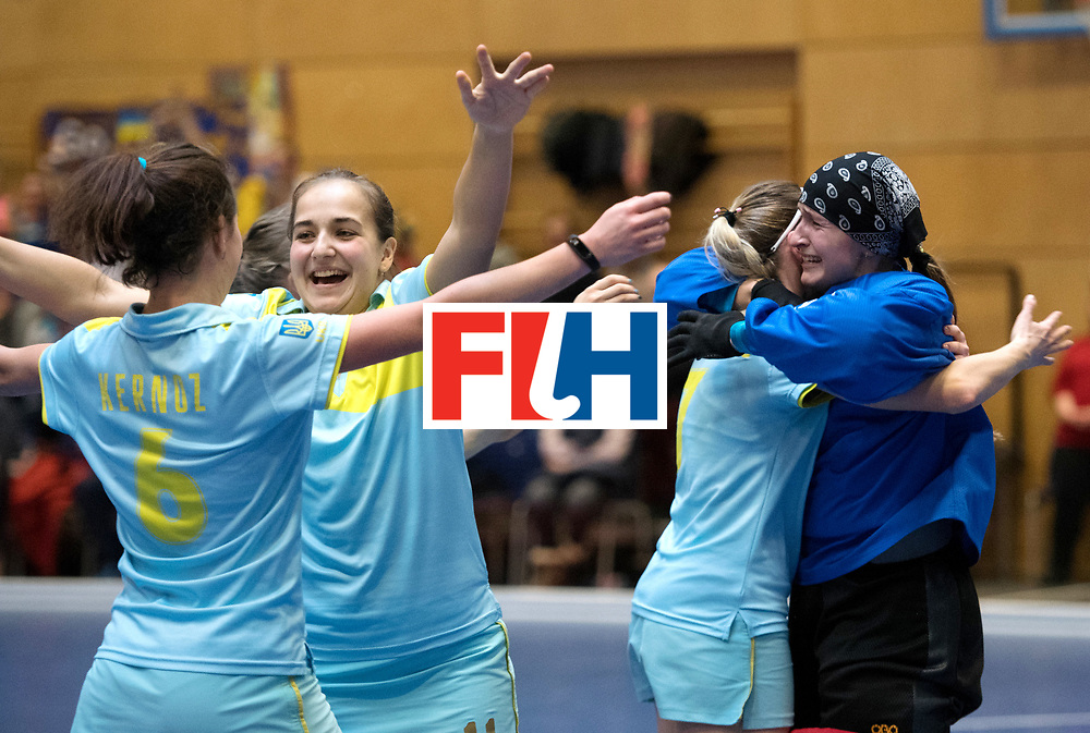 BERLIN - Indoor Hockey World Cup<br /> Women: Ukraine - Czech Republic<br /> foto: FADIEIEVA Alina celebrates.<br /> WORLDSPORTPICS COPYRIGHT FRANK UIJLENBROEK