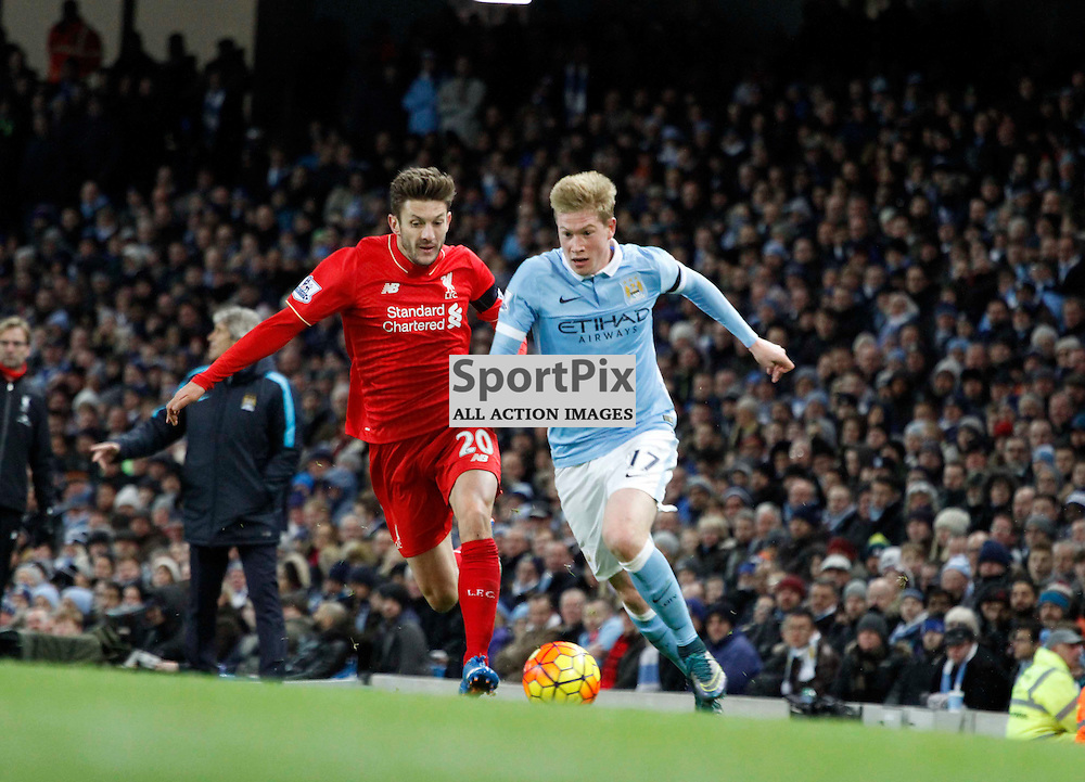 Kevin De Bruyne attacks Adam Lallana down the wing during Manchester City vs Liverpool, Barclays Premier League, Saturday 21st November 2015, Etihad Stadium, Manchester