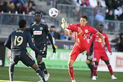 October 21, 2018 - Chester, Pennsylvania, U.S - SEAN DAVIS (27) of the New York Red Bulls in action against Philadelphia Union defender CORY BURKE(19)  at Talen Energy Field in Chester PA (Credit Image: © Ricky Fitchett/ZUMA Wire)