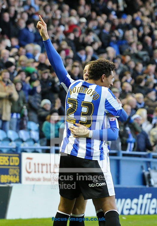 Picture by Richard Land/Focus Images Ltd +44 7713 507003.03/11/2012.Ross Barkley of Sheffield Wednesday celebrates the opening goal against Peterborough United with Jay Bothroyd during the npower Championship match at Hillsborough, Sheffield.