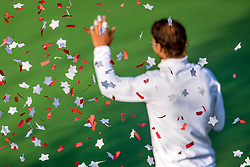 August 12, 2018 - Toronto, ON, U.S. - TORONTO, ON - AUGUST 12: Rafael Nadal of Spain waves to the crowd through the confetti as he celebrates his victory over Stefanos Tsitsipas of Greece after their Men's Final match at the Rogers Cup Sunday, August 12, 2018 at Aviva Centre in Toronto, Ontario Canada. Nadal defeated Tsitsipas 6-2, 7-6. (Photo by Jeff Chevrier/Icon Sportswire) (Credit Image: © Jeff Chevrier/Icon SMI via ZUMA Press)
