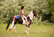 Battle of the Little Bighorn Reenactment,<br /> Custers Last Stand, Crow Indian Reservation, Montana, young warrior