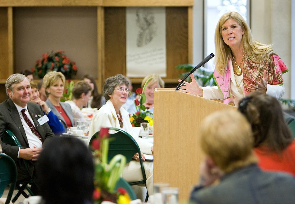 Melanie Sabelhaus, (BSJ '70)chair of the Women's Majority Network Steering Committee, speaks during the Women in Philanthropy Celebration and Conversation luncheon at the Scripps College Celebration.