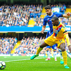 Diego Costa of Chelsea puts Jeffrey Schlupp of Crystal Palace under pressure during Chelsea vs Crystal Palace, Premier League , 01.04.17 (c) Harriet Lander | SportPix.org.uk