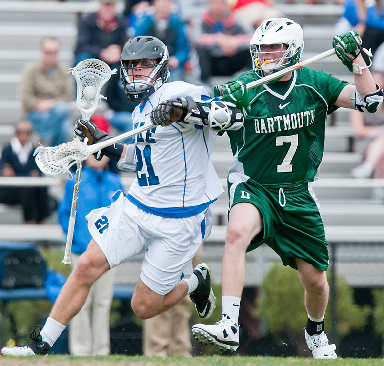 March 20 2011:Duke attack Zach Howell (21) is guarded by Dartmouth defender Pat Flynn (7).
