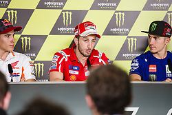 June 8, 2017 - Barcelona, Spain - MotoGP, Marc Marquez(Spa), Repsol Honda Team (L), Andrea Dovizioso(Ita), Ducati Team (C) and Maverick Vinales(Spa), Movistar Yamaha Motogp Team during the press conference of MotoGp Grand Prix Monster Energy of Catalunya, in Barcelona-Catalunya Circuit, Barcelona on 8th June 2017 in Barcelona, Spain. (Credit Image: © Urbanandsport/NurPhoto via ZUMA Press)