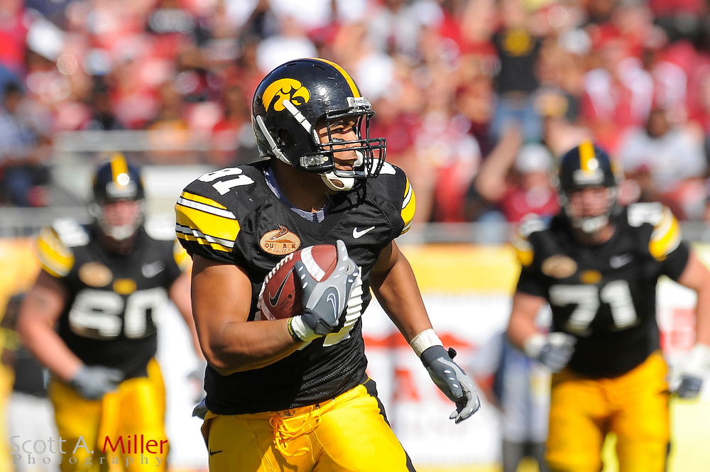 Jan 1, 2009; Tampa, FL, USA;Iowa Hawkeyes tight end Tony Moeaki (81) runs up field during the first half of the Outback Bowl at the Raymond James Stadium ©2009 Scott A. Miller