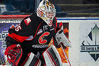 KELOWNA, BC - FEBRUARY 08: Taylor Gauthier #35 of the Prince George Cougars stands in net against the Kelowna Rockets at Prospera Place on February 8, 2019 in Kelowna, Canada. (Photo by Marissa Baecker/Getty Images)