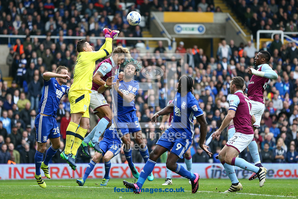 Keeper Pierluigi Gollini of Aston Villa (2nd left) punches clear during the Sky Bet Championship match at St Andrews, Birmingham<br /> Picture by Andy Kearns/Focus Images Ltd 0781 864 4264<br /> 30/10/2016