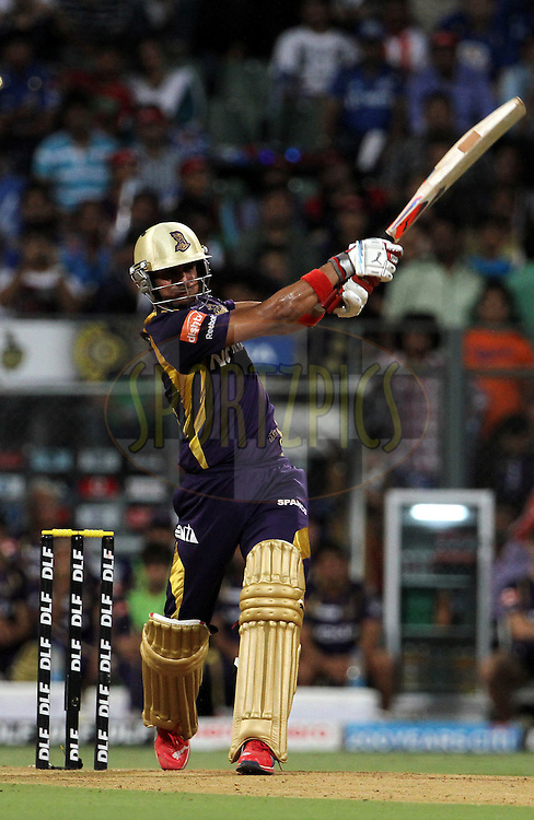 Kolkatta Knight Riders player Manoj Tiwary plays a shot during match 65 of the Indian Premier League ( IPL) 2012  between The Mumbai Indians and the Kolkata Knight Riders held at the Wankhede Stadium in Mumbai on the 16th May 2012..Photo by Vipin Pawar/IPL/SPORTZPICS.