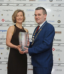 Cllr Brendan Mulroy Cathaoirleach of West Mayo Municipal Authority presented Mary Walsh with her Westport Lions club Clew Bay People of the Year Award.<br /> Pic Conor McKeown