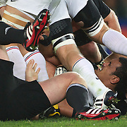 Jerome Kaino, New Zealand, in the breakdown during the New Zealand V France Final at the IRB Rugby World Cup tournament, Eden Park, Auckland, New Zealand. 23rd October 2011. Photo Tim Clayton...