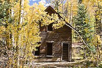 Buildings at the historic ghost town of Ironton.  Popular during the mining days, the Town Site lies along the Millon Dollar HWY at the base of Red Mountain Pass in the San Juan Mountains, Colorado.