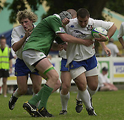 © Peter Spurrier / Intersport images.email images@intersport-images.com.29/6/03 Photo Peter Spurrier.IRB U21 Rugby World Cup - Henley - Oxon.Ireland v Italy.Italy's prop, Claudio Russo, attacking through the centre, supported by full back Mirco Bergamasco