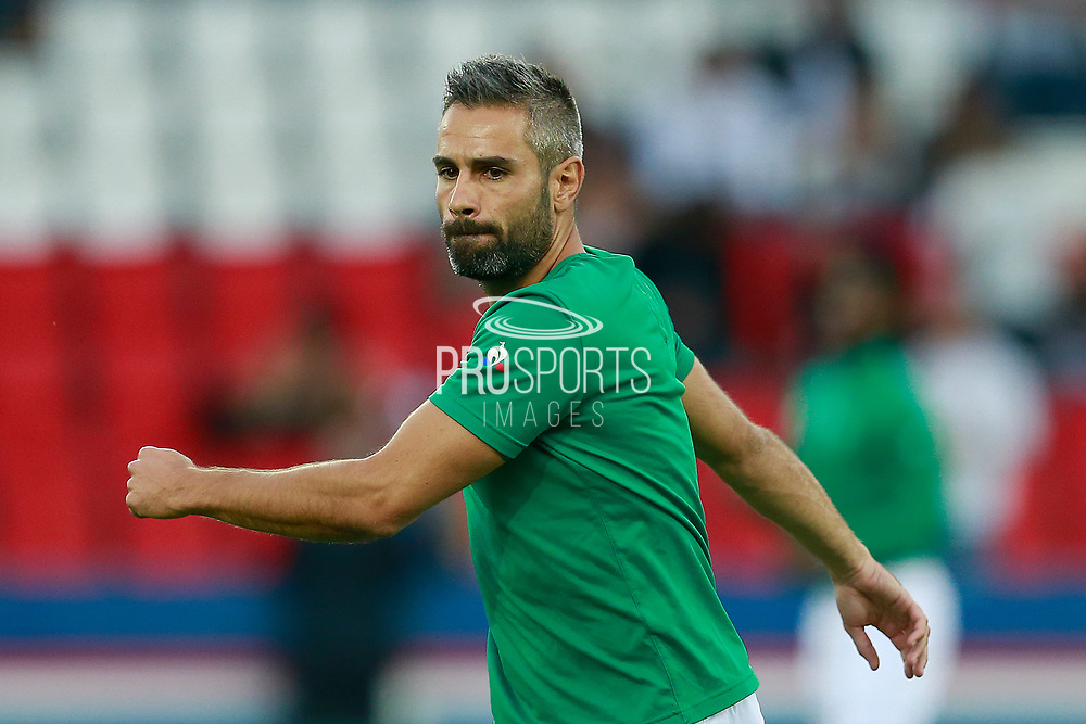 AS Saint Etienne French Loic Perrin warms up before the French championship L1 football match between Paris Saint-Germain (PSG) and Saint-Etienne (ASSE), on August 25, 2017 at the Parc des Princes in Paris, France - Photo Benjamin Cremel / ProSportsImages / DPPI