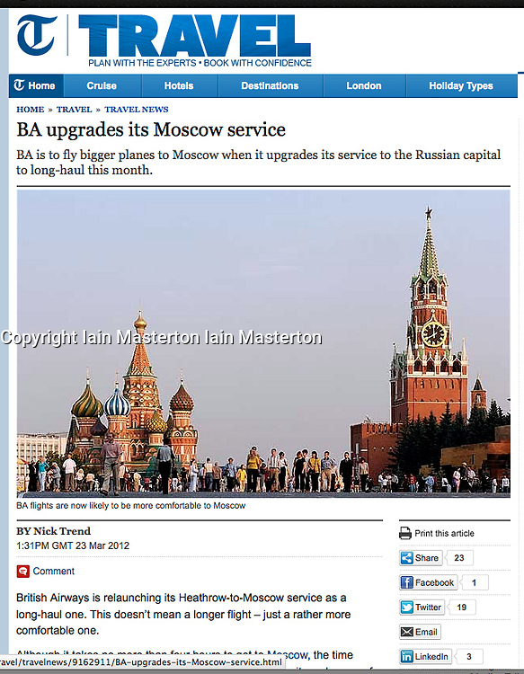 Tearsheet from The Telegraph; Moscow Red Square